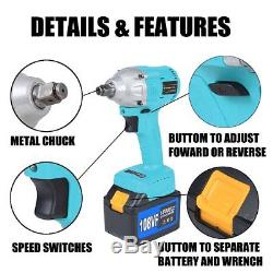 108V Cordless Lithium-Ion Electric Impact Wrench Brushless 3 Speed Torque 320 Nm