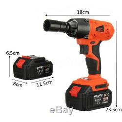128V 1/2 Cordless Electric Impact Wrench Torque Drill with 2x 12800mAh Battery