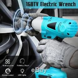 168VF 19800mAh 1/2 Electric Cordless Impact Wrench Drill Socket With LED Light