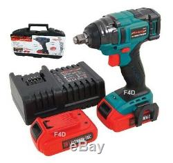 18v 1/2 Lithium Li-ion Brushless Cordless Impact Wrench & 2 Batteries In Case