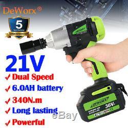 1/2Cordless Electric Impact Wrench Gun Home Garage DIY Tool Set 6000mAh Battery