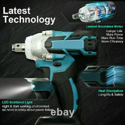 1/2 520Nm 18V Torque Brushless Cordless Electric Impact Wrench Driver+2 Battery