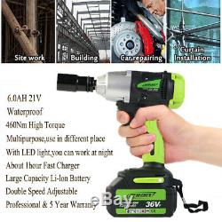 1/2 Cordless Electric Impact Wrench Gun Drill Tool Fast Charge Li-Ion Battery