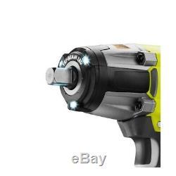 1/2 Inch Cordless Impact Wrench 18 Volt 3-Speed Li Ion Battery Ryobi Auto Gun