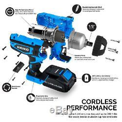 20V Lithium-Ion Cordless Impact Wrench Socket Adapters Set 1/2 Square Drive