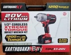 20V Max Lithium 1/2 Cordless Xtreme Torque Impact Wrench Kit Earthquake XT