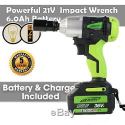 21V Cordless Impact Wrench Kit 1/2-Inch High Torque Dual-speed with LED Light