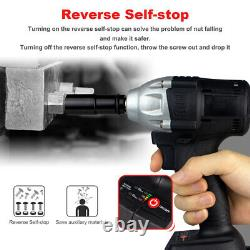 21V Max 520Nm Cordless Impact Wrench Gun 1/2'' Drive Drill with 2 Battery&Sockets
