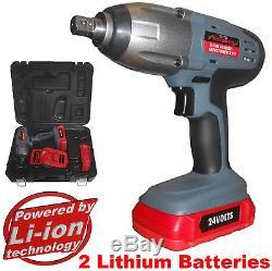 24 volt Cordless Impact Wrench 2 x LI-ION Batteries & 10pc impact socket set