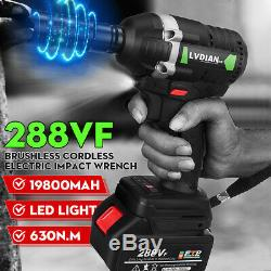 288VF 630N. M 1/2 Brushless Cordless Impact Wrench with19800mAH Battery and Sleeve