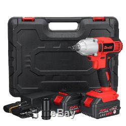 2 Pcs Battery 200W 21V Cordless 1/2 Impact Wrench High Torque Hammer Drill