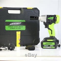 36VF Electric Cordless Impact Wrench High Torque Drill Rattle Nut Gun Driver Kit
