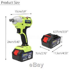 36V 1/2 Brushless Cordless Impact Wrench +2 Li-ion Battery Car Tool