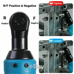 3/8 65N. M 12V Electric Cordless Ratchet Right Angle Wrench impact +2 Battery US