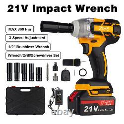 4-IN-1 21V Electric Cordless Impact Wrench Max 800Nm 1/2'' Drive Drill + Battery