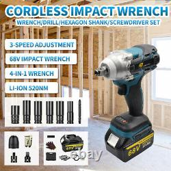 520Nm 1/2 68V Cordless Electric Impact Wrench Drill Drive Tool + Li-ion Battery
