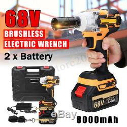 68V 8000mAh Brushless Cordless Impact Wrench 2 Li-Ion Battery Charger withBattery