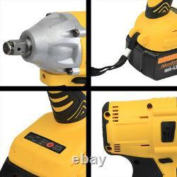 68V 9000mah Brushless Impact Wrench Torque Rattle Gun Kit Cordless 2 Battery
