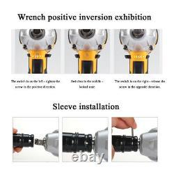 68V Cordless Electric Impact Wrench Gun 1/2'' Driver & 2 Li-ion Batteries Power