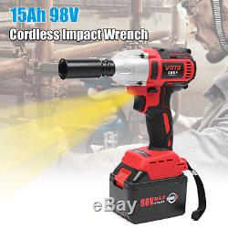 98V 1/2 Cordless Impact Wrench Burshless Gun Torque 360N. M & 15Ah Li-ion Battery