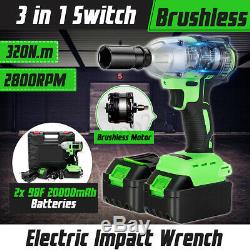 98V 320Nm Brushless Electric Cordless Impact Wrench Gun Drill 2x20000mAh Battery