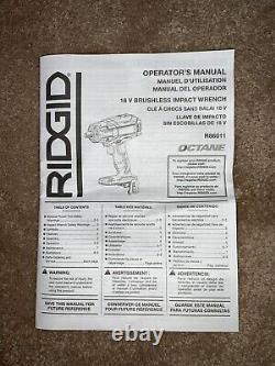 Brand New! RIDGID OCTANE Brushless 1/2 in. Impact Wrench + 4.0 Ah Lith. Battery
