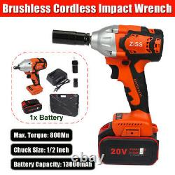 Brushless Cordless Impact Wrench Max 800Nm 1/2 inch Drive with 13000mAh Battery