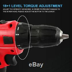 Cordless Drill 20Vmax / Impact Wrench Brushless 1/2'' Battery+charger Rattle Gun