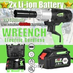 Cordless Electric Impact Wrench Rattle Nut Gun 460Nm Li-ion Battery 1/2'' Driver