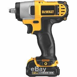 Cordless Impact Wrench 12-Volt Max 3/8 2 Lithium Battery Packs Rechargeable Bag