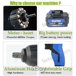Cordless Impact Wrench 1/2 Li-ion Cordless Impact Driver Nut Gun + 2 Battery