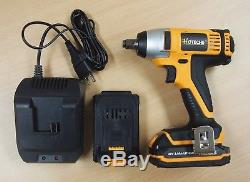 Cordless Impact Wrench 20V 1/2 Dr. Led 2 Lithium Ion Batteries Quick Charger