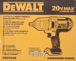 Dewalt Dcf889b 1/2 20 Volt 20v Cordless Impact Wrench Detent 400 Ft-lb New