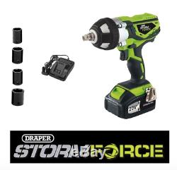 Draper Storm Force 20v Cordless 1/2 Impact Wrench 01031 Gun inc four sockets