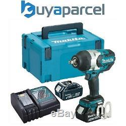 Makita DTW1002RTJ 18v LXT Brushless Impact Wrench 1/2 + 2 x 5.0ah + Makpac