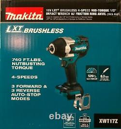 Makita XWT17Z Cordless Brushless 1/2 Impact 4 Speed 18 volt NEW 2 DAY SHIPPING