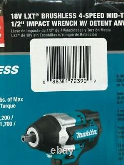 Makita XWT18Z Cordless Brushless 4-Speed Mid-Torque 1/2 in. Impact Wrench NEW