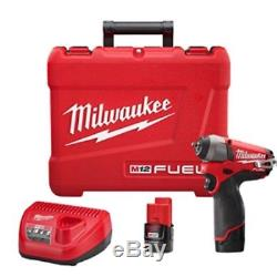 Milwaukee 2452-22 M12 Fuel 1/4 Drive Cordless Impact Wrench with 2 Batteries