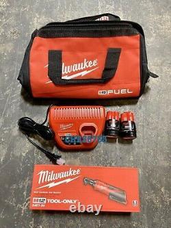 Milwaukee 2457-21 M12 Cordless 3/8 Lithium-Ion Ratchet Kit Two Batteries 1.5