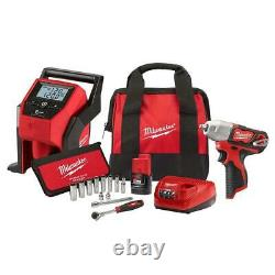 Milwaukee 2463-21RS M12 12V 3/8 Cordless Impact Wrench and Inflator Combo Kit