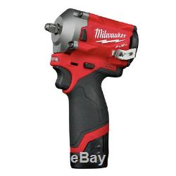 Milwaukee 2554-22 M12 FUEL Li-Ion 3/8 in. Stubby Impact Wrench Kit New