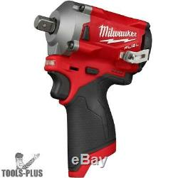 Milwaukee 2555P-20 M12 FUEL Stubby 1/2 Pin Detent Impact Wrench (Tool Only) New