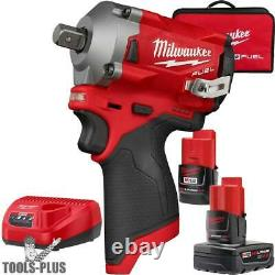 Milwaukee 2555P-22 M12 FUEL Stubby 1/2 Pin Detent Impact Wrench Kit New