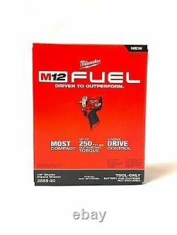 Milwaukee 2555-20 M12 FUEL Li-Ion 1/2 Stubby Cordless Impact Wrench New