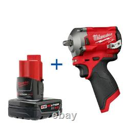 Milwaukee 2555-20 M12 FUEL Stubby Cordless 1/2 Impact Wrench 48-11-2440 Battery