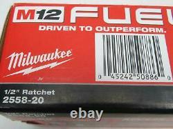 Milwaukee 2558-20 12-Volt M12 FUEL 1/2 Cordless Ratchet NEW