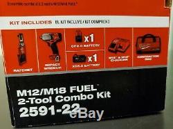 Milwaukee 2591-22 M18 Fuel Mid-Torque Impact & M12 Fuel 3/8 Ratchet Kit NEW