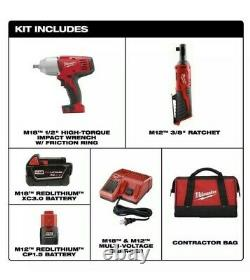 Milwaukee 2663-22RH Cordless M12 3/8 Ratchet + M18 1/2 Impact Wrench Combo Kit