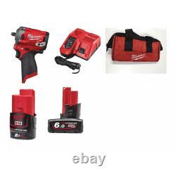 Milwaukee M12FIW38-622 12v 3/8 Impact Wrench Fuel Sub Compact 1 M12B2 1 x M12B6
