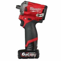 Milwaukee M12FIWF12-622X 12v Cordless 1/2 Impact Wrench Kit 2 Batteries, In Case